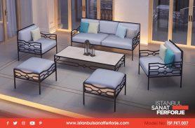 2-Seat Pouf, Black, Special Handwork, Wrought Iron Sofa Set
