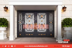 Black, Handcrafted Gold Patterned Wrought Iron Door