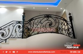 Gold Embroidered Flower Detailed Internal Stair Wrought Iron Railing