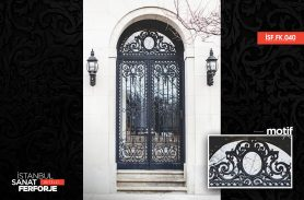 Two-Door, Black, Handcrafted Wrought Iron Door