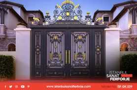 Gold İşlemeli, İki kapılı Ferforje Garaj Kapısı