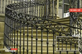 Modern, Black, Handcrafted, Exterior Wrought Iron Stair Railing