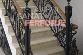 Floral Detailed Interior Stair Wrought Iron Railing With Wooden Border