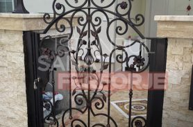 Single Door, Black, Leaf Pattern, Wrought Iron Garden Entrance Door