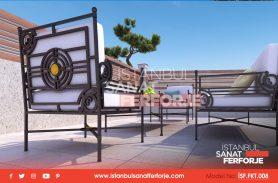 Black Color, Single, Triple and Double Pouf Wrought Iron Garden Sofa Set