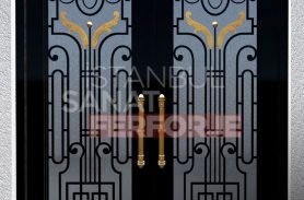 Black Colored Glass Wrought Iron Door