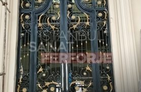 Rose and Ivy Patterned Wrought Iron Door