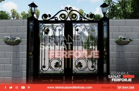 Çift Kapılı, Gold İşlemeli,İkili Aydınlatmalı, Siyah Ferforje Bahçe Kapısı
