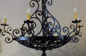 Candle Detailed, Black Wrought Iron Pendant Lamp Chandelier
