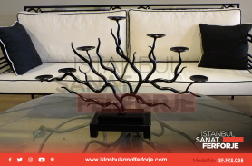 Black, Floral Branch, Decorative Wrought Iron Candle Holder