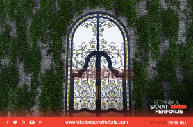 Gold Embroidered Wrought Iron Villa Entrance Door